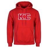 Red Fleece Hood-Kappa Sigma - Greek Letters Tackle Twill