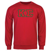 Red Fleece Crew-Kappa Sigma - Greek Letters Tackle Twill
