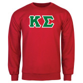 Red Fleece Crew-Kappa Sigma - Greek Letters Tackle Twill