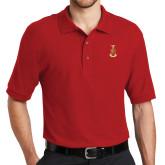 Red Easycare Pique Polo-Crest