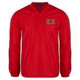 V Neck Red Raglan Windshirt-Kappa Sigma - Greek Letters - 2 Color