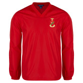 V Neck Red Raglan Windshirt-Crest