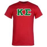 Red T Shirt-Kappa Sigma - Greek Letters Tackle Twill