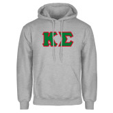 Grey Fleece Hoodie-Kappa Sigma - Greek Letters Tackle Twill