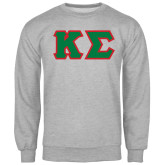 Grey Fleece Crew-Kappa Sigma - Greek Letters Tackle Twill