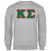 Grey Fleece Crew-Kappa Sigma - Greek Letters Tackle Twill