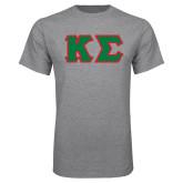Grey T Shirt-Kappa Sigma - Greek Letters Tackle Twill