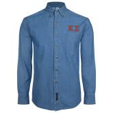 Denim Shirt Long Sleeve-Kappa Sigma - Greek Letters - 2 Color