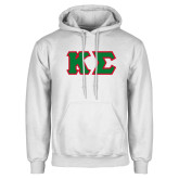 White Fleece Hoodie-Kappa Sigma - Greek Letters Tackle Twill
