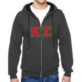 Charcoal Fleece Full Zip Hood-Kappa Sigma - Greek Letters Tackle Twill