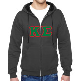 Charcoal Fleece Full Zip Hoodie-Kappa Sigma - Greek Letters Tackle Twill
