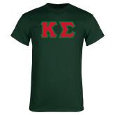 Dark Green T Shirt-Kappa Sigma - Greek Letters Tackle Twill