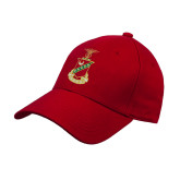 Red Heavyweight Twill Pro Style Hat-Crest