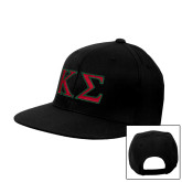 Black Flat Bill Snapback Hat-Kappa Sigma - Greek Letters - 2 Color