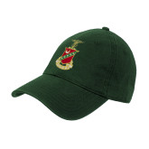 Dark Green Twill Unstructured Low Profile Hat-Crest