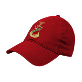 Red Twill Unstructured Low Profile Hat-Crest