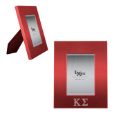 Red Brushed Aluminum 3 x 5 Photo Frame-Kappa Sigma - Greek Letters - Engraved