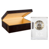 Grand Crystal Clock in Rosewood Box-Kappa Sigma - Greek Letters - Engraved