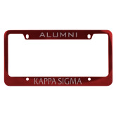 Alumni Metal Red License Plate Frame-Kappa Sigma Flat Engraved