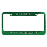 Alumni Metal Green License Plate Frame-Kappa Sigma Flat Engraved