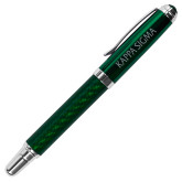 Carbon Fiber Green Rollerball Pen-Kappa Sigma Flat Engraved