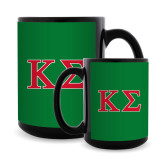 Full Color Black Mug 15oz-Kappa Sigma - Greek Letters - 2 Color