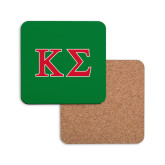 Hardboard Coaster w/Cork Backing-Kappa Sigma - Greek Letters - 2 Color
