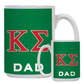 Dad Full Color White Mug 15oz-Kappa Sigma - Greek Letters - 2 Color