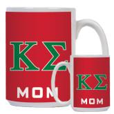 Mom Full Color White Mug 15oz-Kappa Sigma - Greek Letters - 2 Color