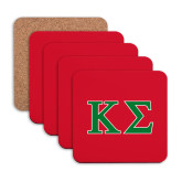 Hardboard Coaster w/Cork Backing 4/set-Kappa Sigma - Greek Letters - 2 Color