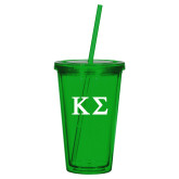 Madison Double Wall Green Tumbler w/Straw 16oz-Kappa Sigma - Greek Letters