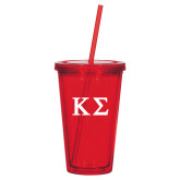 Madison Double Wall Red Tumbler w/Straw 16oz-Kappa Sigma - Greek Letters