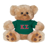 Plush Big Paw 8 1/2 inch Brown Bear w/Dark Green Shirt-Kappa Sigma - Greek Letters - 2 Color