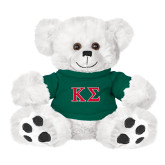 Plush Big Paw 8 1/2 inch White Bear w/Dark Green Shirt-Kappa Sigma - Greek Letters - 2 Color