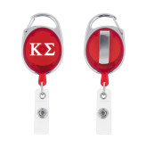 Red Oval Retractable Badge Holder w/Clip-Kappa Sigma - Greek Letters