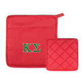 Quilted Canvas Red Pot Holder-Kappa Sigma - Greek Letters - 2 Color