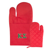 Quilted Canvas Red Oven Mitt-Kappa Sigma - Greek Letters - 2 Color