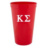22 oz Red Transparent Stadium Cup-Kappa Sigma - Greek Letters