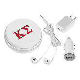 3 in 1 White Audio Travel Kit-Kappa Sigma - Greek Letters - 2 Color