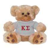 Plush Big Paw 8 1/2 inch Brown Bear w/Grey Shirt-Kappa Sigma - Greek Letters - 2 Color