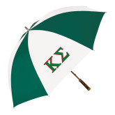 62 Inch Forest Green/White Umbrella-Kappa Sigma - Greek Letters - 2 Color