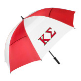 62 Inch Red/White Vented Umbrella-Kappa Sigma - Greek Letters - 2 Color