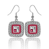 Crystal Studded Square Pendant Silver Dangle Earrings-KCBS