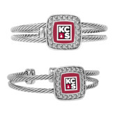 Crystal Studded Cable Cuff Bracelet With Square Pendant-KCBS