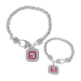 Silver Braided Rope Bracelet With Crystal Studded Square Pendant-KCBS