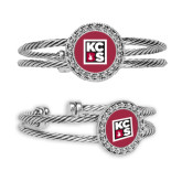 Silver Bangle Bracelet With Round Pendant-KCBS