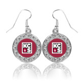 Crystal Studded Round Pendant Silver Dangle Earrings-KCBS