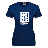 Ladies Navy T Shirt-Kansas City Barbeque Society
