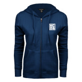 ENZA Ladies Navy Fleece Full Zip Hoodie-KCBS