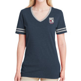 Ladies Navy Heather/Grey Tri Blend Varsity Tee-Kansas City Barbeque Society